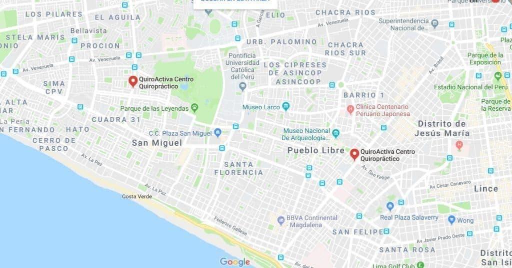 mapa de los locales de quiroactiva en lima